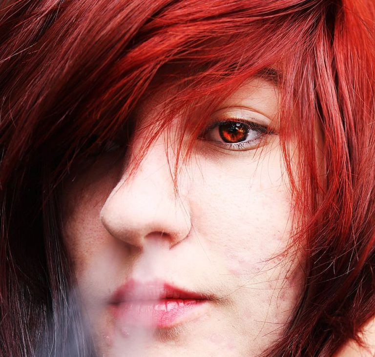 girl tired expressionless eye rings red hair red eyes1