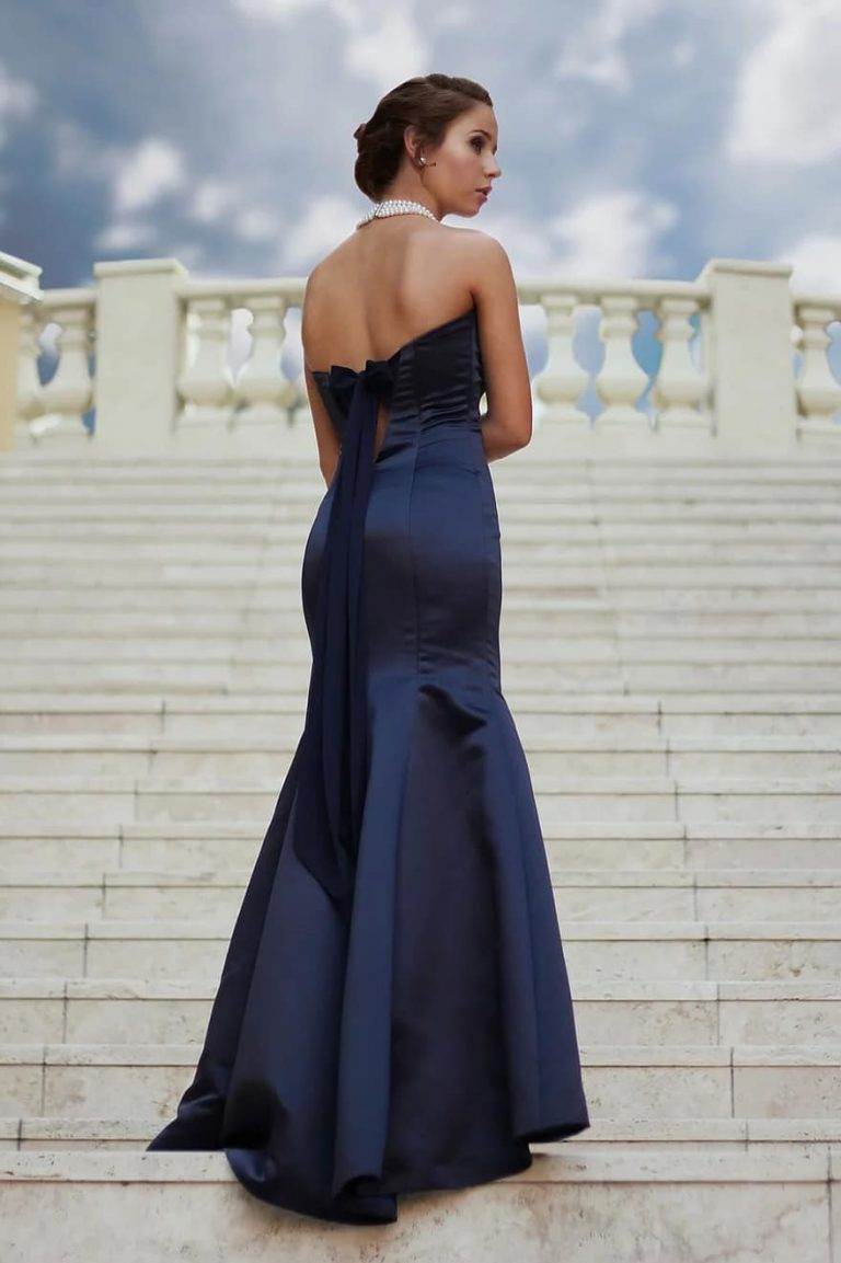 woman standing female caucasian person girl gown formal steps1
