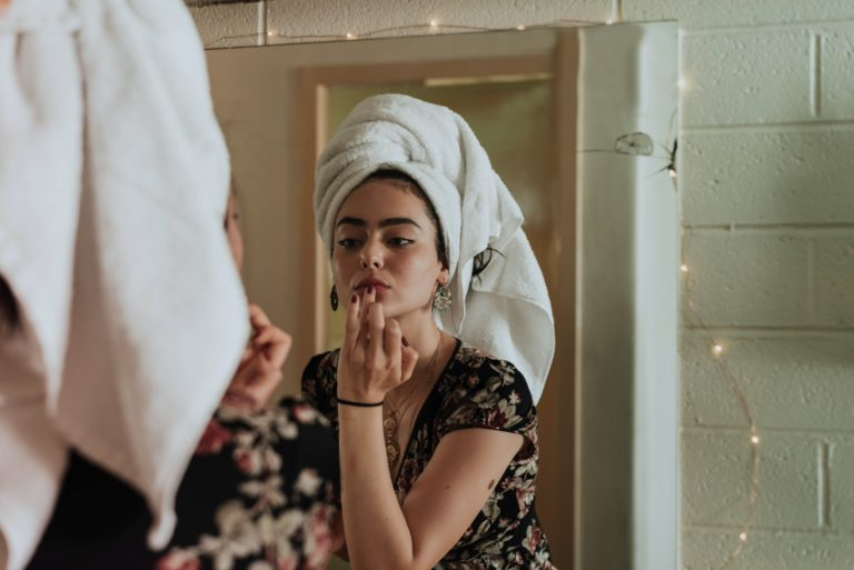woman doing her skin care